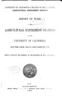 Report of the Agricultural Experiment Station of the University of California ...