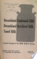 Recombined Condensed Milk, Recombined Sterilized Milk, Toned Milk