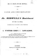 Pdf The Cause and Circumstances of Mr. Bidwell's Banishment by Sir F. B. Head