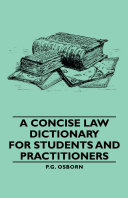 Pdf A Concise Law Dictionary - For Students and Practitioners Telecharger