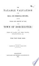 The Taxable Valuation of the Real and Personal Estates, with the Polls and Amount of Tax, in the Town of Dorchester