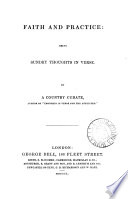 Faith and practice  sundry thoughts in verse  by a country curate  G H S    Book