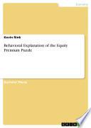 Behavioral Explanation Of The Equity Premium Puzzle Book PDF