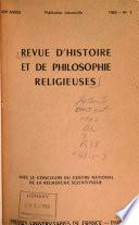 Revue d'Histoire et de Philosophie Religieuses