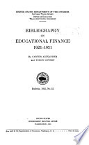 Bibliography on Educational Finance 1923 1931