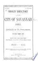 Sholes  Directory of the City of Savannah     Book PDF