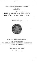 The     Annual Report of the American Museum of Natural History Book