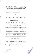 The Obligation and Importance of Searching the Scriptures  as a Preservative from Popery  A Sermon  on John V  39  Preached     November 5  1779  Etc Book