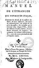 Manuel de l'étranger qui voyage en Italie ...