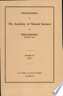 Proceedings Of The Academy Of Natural Sciences Vol Cv 1953
