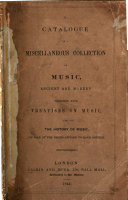 A catalogue of a miscellaneous collection of music ... on sale