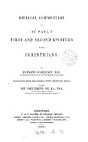 Biblical Commentary on St  Paul s First and Second Epistles to the Corinthians