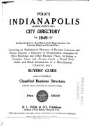 Polk s Indianapolis  Marion County  Ind   City Directory