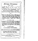 Astrologus Britannicus  Or an Almanack for the Year of Our Redemption  1710      By Richard Gibson