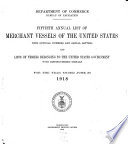 Merchant Vessels of the United States  including Yachts and Certain Government Vessels