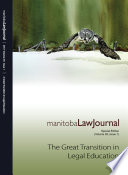 Manitoba Law Journal A Review Of The Current Legal Landscape 2016 Volume 39 1
