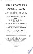 Observations on Animal Life  and Apparent Death  from Accidental Suspension of the Function of the Lungs Book PDF