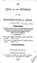 The Trial of the Witnesses, of the Resurrection of Jesus