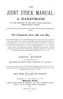 The Joint Stock Manual: a Handybook of the Practice of the ...