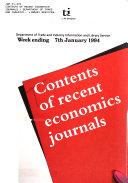 Contents of Recent Economics Journals