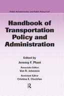 Pdf Handbook of Transportation Policy and Administration Telecharger