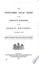 Annual Report by the Deputy Keeper of the Public Records Book