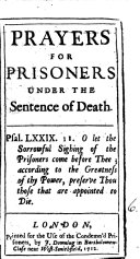 Prayers for Prisoners Under the Sentence of Death