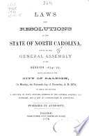 Laws and Resolutions of the State of North Carolina