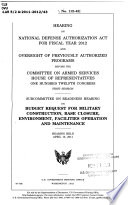 Hearing on National Defense Authorization Act for Fiscal Year 2012 and Oversight of Previously Authorized Programs Before the Committee on Armed Services  House of Representatives  One Hundred Twelfth Congress  First Session