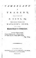 Tamerlane  A tragedy  etc