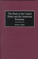 The Bank of the United States and the American Economy Book