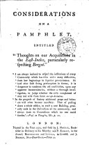 Considerations on a Pamphlet, Entitled