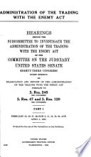 Administration of the Trading with the Enemy Act