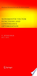 Nonsmooth Vector Functions And Continuous Optimization Book PDF