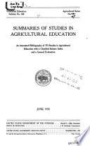 Summaries Of Studies In Agricultural Education