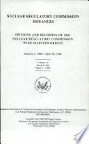 Nuclear Regulatory Commission Issuances