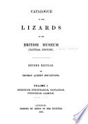 Catalogue of the Lizards in the British Museum (Natural History).