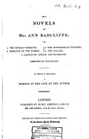The novels of Mrs Ann Radcliffe: complete in one volume