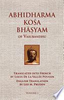 Abhidharmakosabhasyam Of Vasubandhu Vol I PDF