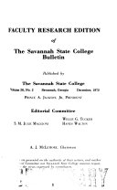 Faculty Research Edition of the Savannah State College Bulletin