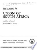 Investment in Union of South Africa Book
