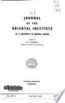 Journal of the Oriental Institute