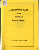 Administrative Rules of the Michigan Board of Dentistry