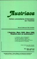 Austriaca, n°26 - L'Autriche : mars 1938 - mars 1988. Requiem pour un anniversaire?