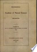 Proceedings Of The Academy Of Natural Sciences Vol Lvii Part Iii Sept Oct Nov Dec 1905