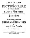 Catholicon ou Dictionnaire universel de la Langue Françoise