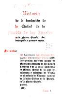 Historia de la Fundación de la Ciudad de la Puebla de los Angeles en la Nueva España