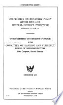 Compendium on Monetary Policy Guidelines and Federal Reserve Structure Book