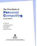 The First Book of Personal Computing Book