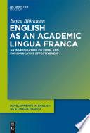 English As An Academic Lingua Franca